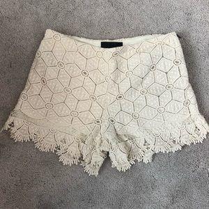 Dolce Vita cream crocheted shorts